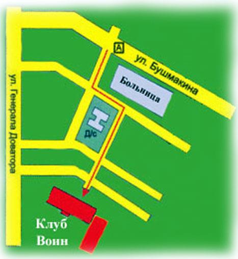 Расстояние : 400 м, пешком 5 мин. Схема проезда на общественном транспорте Автобусы:77, 71, 58, До остановки Больница...